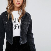 ASOS PETITE Denim Shrunken Jacket in Washed Black at asos.com