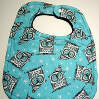 Baby Bib - Reversible Super Absorbent Triple Layer - READY TO SHIP - Minky Baby Bib - Owl Bib - Minky Bibs - Baby Bibs