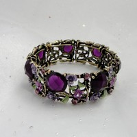1920s Purple Crystal And Flower Ban.. on Luulla