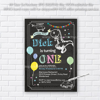 Dinosaur Birthday Invitation any age for kids birthday invitation 1st 2nd 3rd 4th 5th Fun Happy party Invitation Card Design - card 59