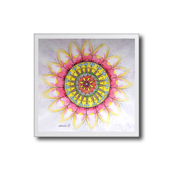 Print Pink & Yellow Mandala Flowers Drawing, Watercolor colored pencils Black ink illustration, Home and Wall Art decoration