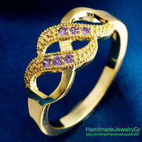 Two Path Design Purple  Gold Plated Rings  Size 8