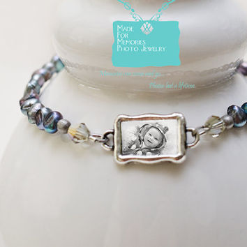 PHOTO BRACELET...Photo Bracelet with Peacock Colored Pearls and Photo Charm, Charm Bracelet, Mother of the Bride Bracelet, Gift