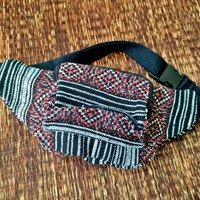 Fanny pack Ikat festival bum bag Boho Ethnic tribal pattern fabric belt belly Pouch Travel phanny waist Hippies Bohemian stripes black red
