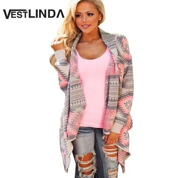 VESTLINDA Fashion Collarless Kimono Cardigan Long Sleeve Poncho Pink Grey Sweaters Tribal Print Asymmetrical Cardigan Women Tops