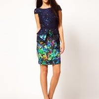 River Island Floral Peplum Dress With Lace Overlay at asos.com