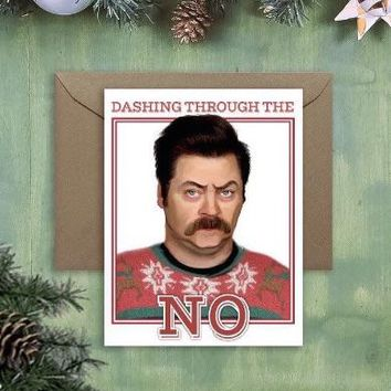 Dashing Through The No Ron Swanson Holiday Card