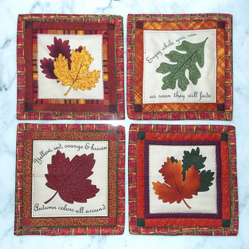 Reversible Fall Leaf Quilted Coasters Set of 4