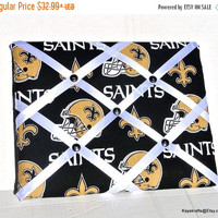 COLUMBUS DAY SALE Saints Memory Board, New Orleans French Memo Board, Black and Gold Saints Pin Board, Saints Fabric Memo Bulletin Board, Co