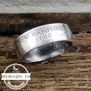 New Hampshire 90% Silver State Quarter Coin Ring