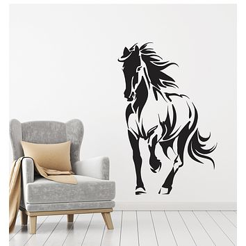 Vinyl Wall Decal Horse Silhouette Animal Mustang Gallop Stickers Mural (g1471)