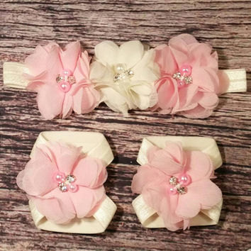 Baby Girl Headband and Barefoot Sandal Set! Pink and Ivory Chiffon Rhinestone and Pearl Flowers. / Barefoot Baby Sandals / Baby Headband