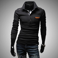 Slim Fit Long Sleeve Men Polo Shirt