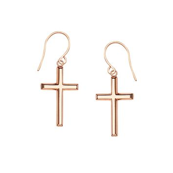 14K Rose Gold Shiny Cross Drop Earrings