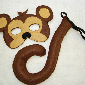 Children's Safari Animal MONKEY Felt Mask and Tail Set