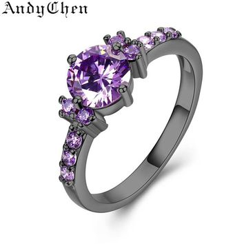 Silver Color Round Purple Crystal Wedding Rings for Women