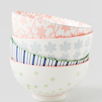 Pastel Printed Ceramic Bowls Set Of 4