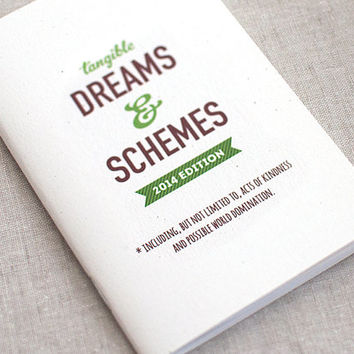 Recycled Journal and Pencil Set, Funny - Tangible Dreams & Schemes 2014 Edition