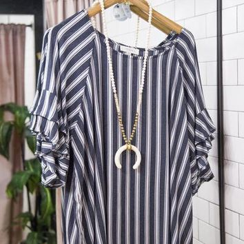 Between The Lines Striped Top, Navy