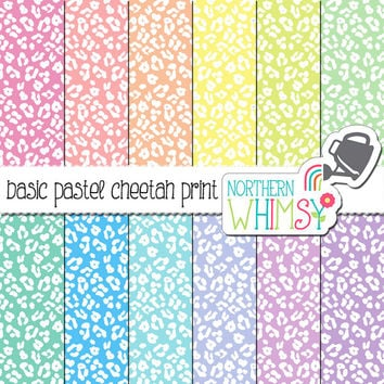 Pastel Cheetah Digital Paper – leopard print scrapbook paper in pink, peach, yellow, mint, blue, & purple - printable paper - commercial use
