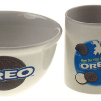 Nabisco OREO Cookie Mug Bowl Set 2 Houston Harvest How Do You Eat Dunk Twist