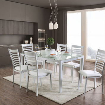 Furniture of america CM3411WH-T-7PC 7 pc Arwen modern glass table top white frame dining table set
