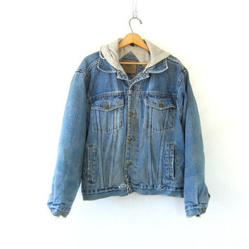 Vintage distressed Denim Jacket. Denim Jean Jacket with sweatshirt hood. oversized jean hoodie / worn in grunge