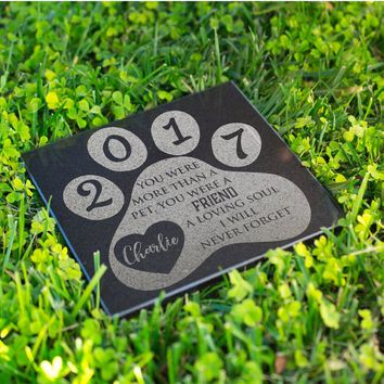 Personalized Memorial Pet Stone Granite - Loving Soul Never Forget Engraved Headstone, Burial Stone, Grave Marker for Best Companion #9