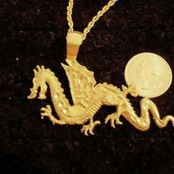 bling 14kt yellow gold plated chinese fire dragon pendant charm 24 inch rope chain hip hop trendy fashion necklace jewelry
