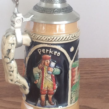 Vintage Beer Stein Germany BR Miniature Mug Collectible Brewannia Barware Heidelberg Raised Relief