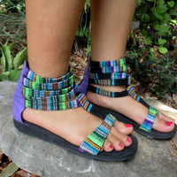 Handmade Vegan Gladiator Sandals In Vibrant by SiameseDreamDesign