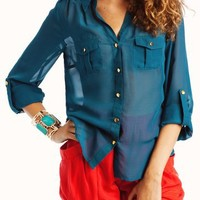 semi-sheer-button-up-blouse BLACK MAGENTA TEAL - GoJane.com