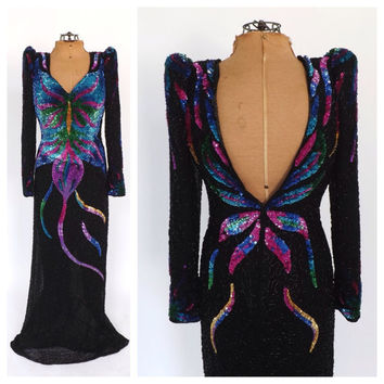 Vintage 1980s J Reynolds Designs Atlanta Black Rainbow Sequin Beaded Silk Dress Long Cocktail Gown Avante Garde Party Butterfly Dress