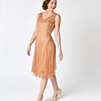 1920s Style Bronze & Gold Embroidered Tara Flapper Dress