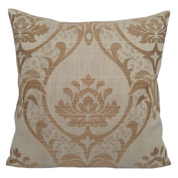 "Linen Polyester Lotus Pattern 18""x18"" Cream Pillow Case/Cushion Cover"