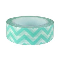 Wrapables Striped Japanese Washi Masking Tape, Aqua Chevron