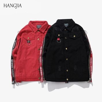 [HANGJIA] Men 's Side Zippers Ribbon Design Black/Red Slim Fit Denim Jacket 2017 Tide High Street Patch Holes Hip-Hop Jackets
