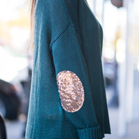 Sequin Shine Sweater, Teal