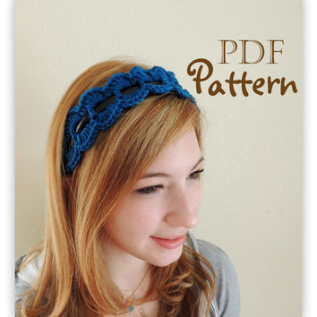PDF CROCHET PATTERN, Crochet Trim for Headband, Many Photos, Summer Trends, Chic, Boho, Instant Digital Download, Pattern Only