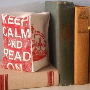 Lino Block Printed Fabric Bookend  Keep Calm and by JoshuaByOak