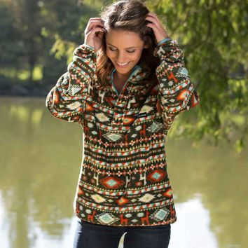 Southern Marsh Harbuck Fleece Quarter Zip Pullover with Aztec Print in Grey SM-OHBP-GYYL