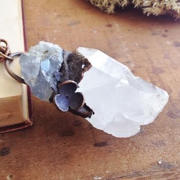 Electroformed Quartz Double Point with Celestite - Necklace