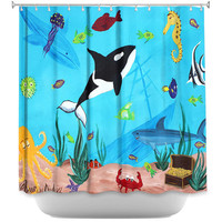 Under the sea shower curtain, Ocean shower curtain, sea animals, marine animals
