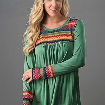 Embroidered Long Sleeve Top - Sage