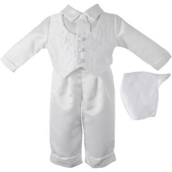 Christening Baptism Newborn Baby Boy Special Occasion 3 Pc Satin, White,6-9M