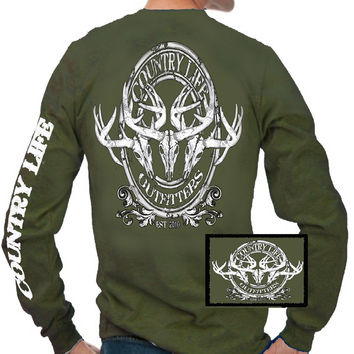 Country Life Outfitters Deer Skull Head Medallion Hunt Vintage Unisex Long Sleeves Bright T Shirt