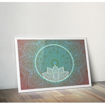 Reiki Charged Lotus Mandala Lotus Poster Bohemian Art Print Poster With White Lotus Flower Design no frame 20x30 Large