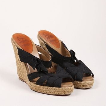CREYU2C Black Ribbon Delfin Espadrille Wedge Sandals