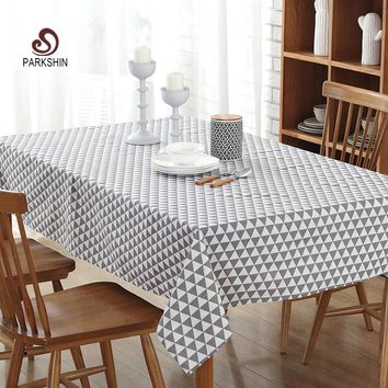ParkShin Tablecloth Gray Plaid Linen Cotton Table Cloth Rectangular Edge Europe Table Cover 4 Sizes Hot