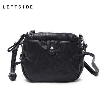 LEFTSIDE 2 Size Women Small Soft Leather Crossbody Clutch Purse For Girls Female Mini Shoulder Bags Woman Handbags For Phone Bag